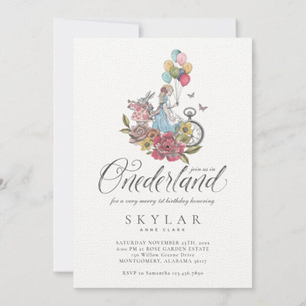 Watercolor Vintage Alice In ONEderland Birthday Invitation