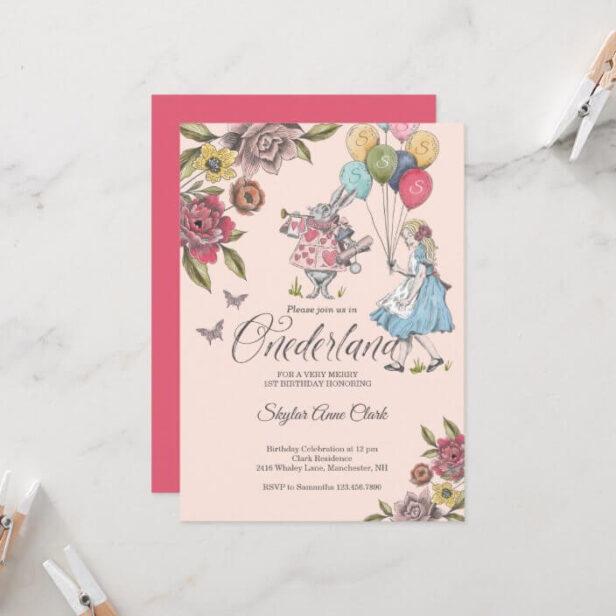 Watercolor Vintage Alice In ONEderland Birthday Invitation