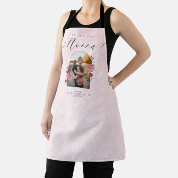 We Love You Nonna Floral Photo Keepsake Pink Apron