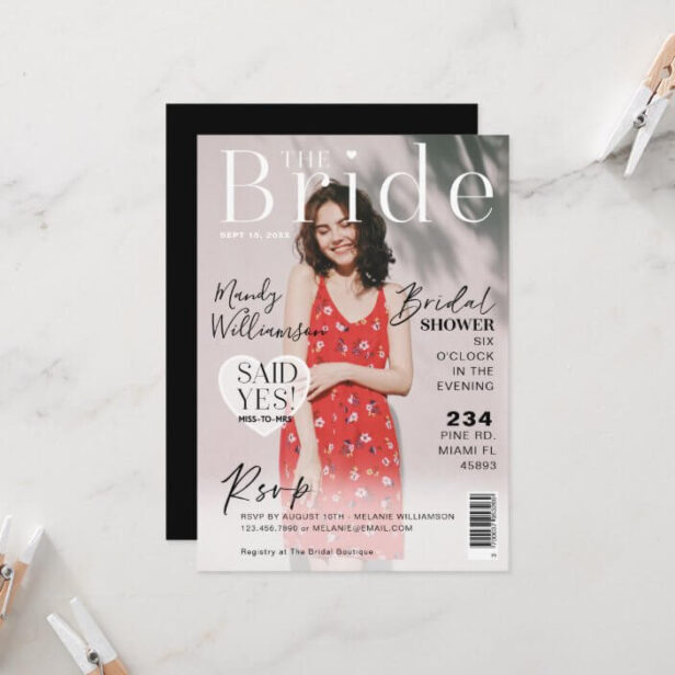Wedding Bridal Shower Trendy Photo Magazine Cover Invitation