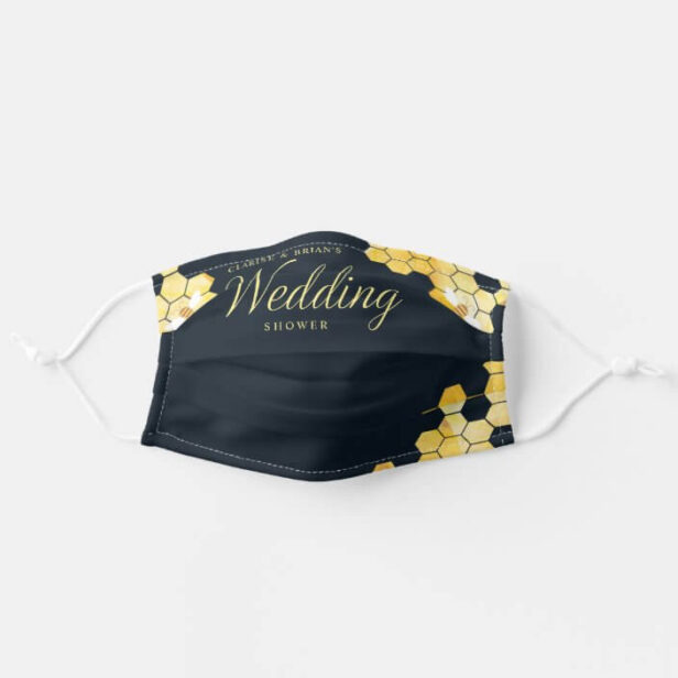 Wedding Shower Honeycomb & Bee Black Adult Cloth Face Mask