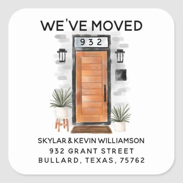We've Moved - New Address Mid Century Door Square Sticker