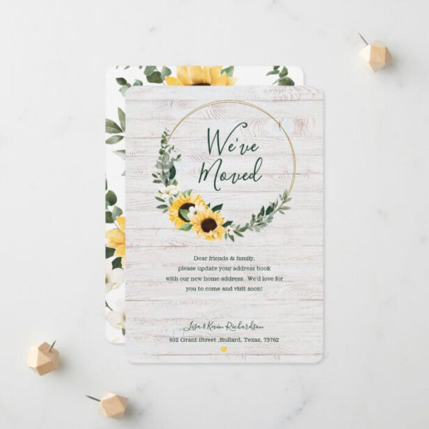 We've Moved Watercolor Sunflower Wreath Whitewood Announcement