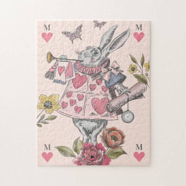 White Rabbit Vintage Alice in Wonderland Monogram Jigsaw Puzzle