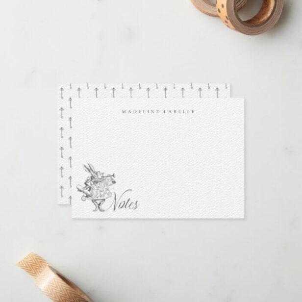 White Rabbit Vintage Alice in Wonderland Name Note Card