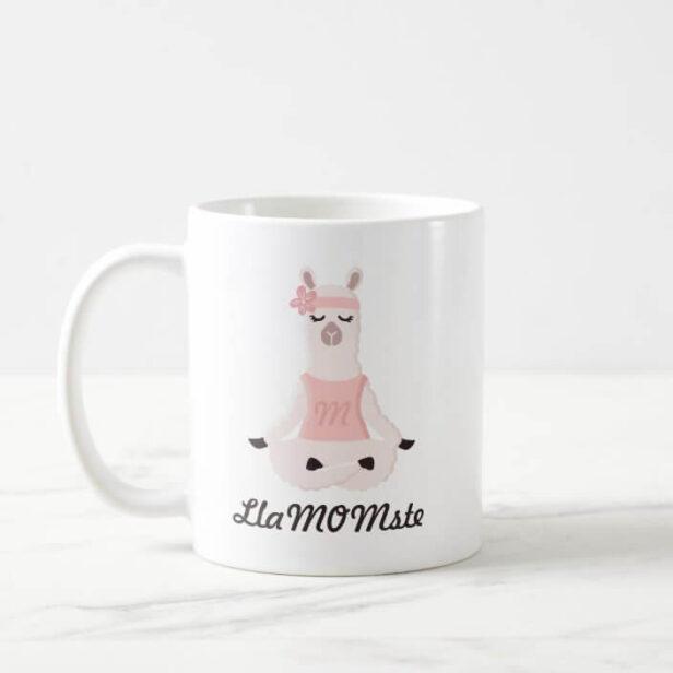 Yoga Llama Mom | LlaMOMste Cute Pink Monogram Coffee Mug