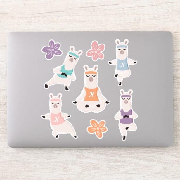 Yoga Llamas Meditating Fun & Cute Custom Monogram Sticker