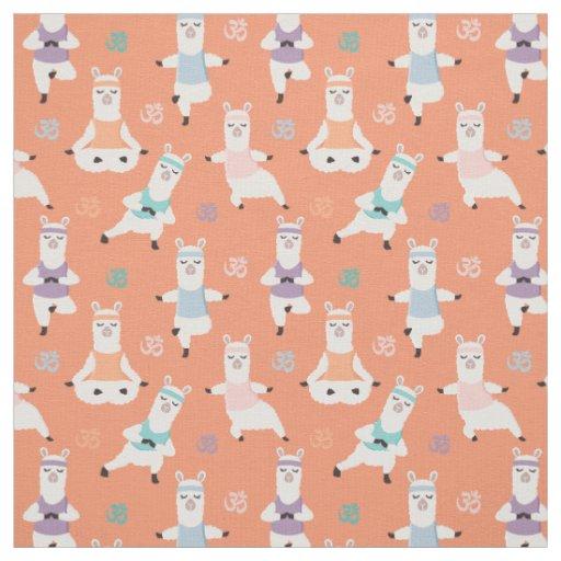 Yoga Llamas Pattern | Fun Yoga Llama Characters Peach Fabric