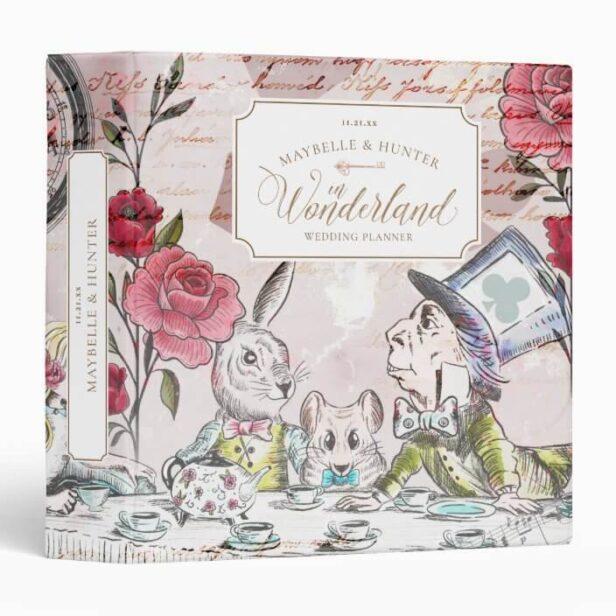 Alice In Wonderland Tea Party Wedding Decoupage 3 Ring Binder