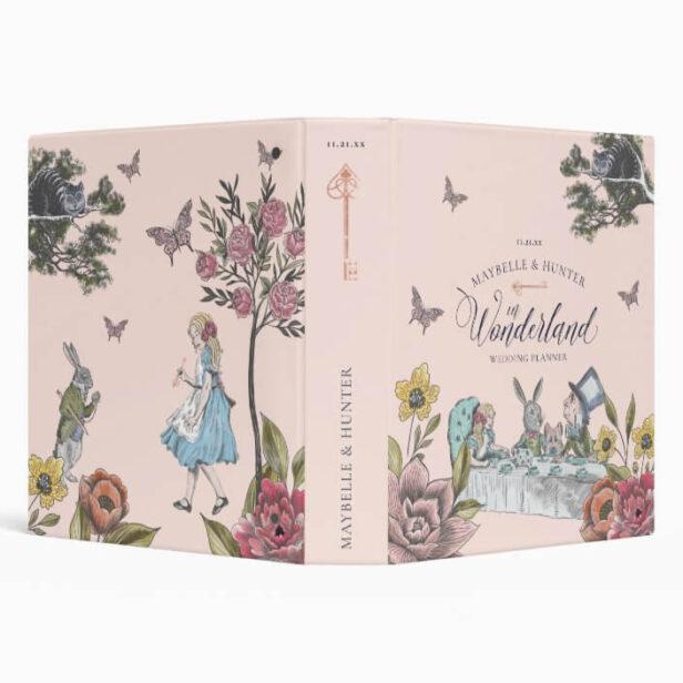 Alice In Wonderland Vintage Chic Wedding Planner Pink 3 Ring Binder