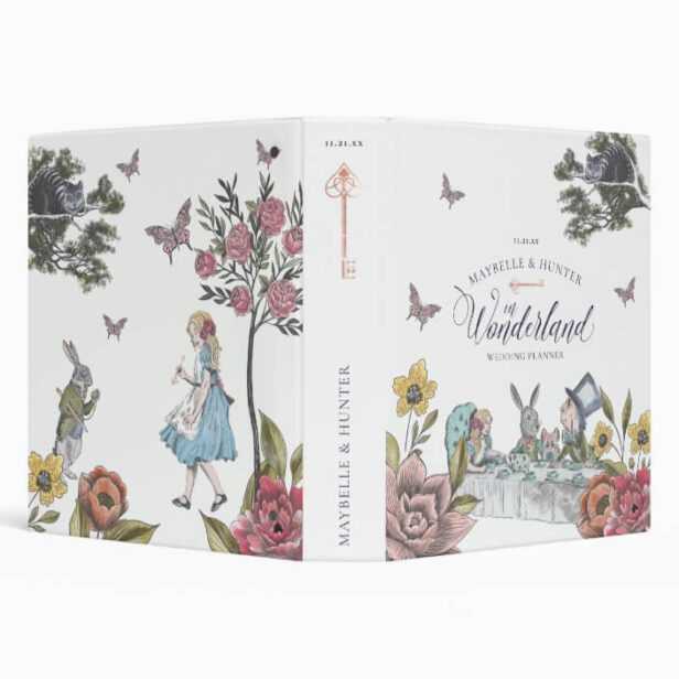 Alice In Wonderland Vintage Chic Wedding Planner White 3 Ring Binder