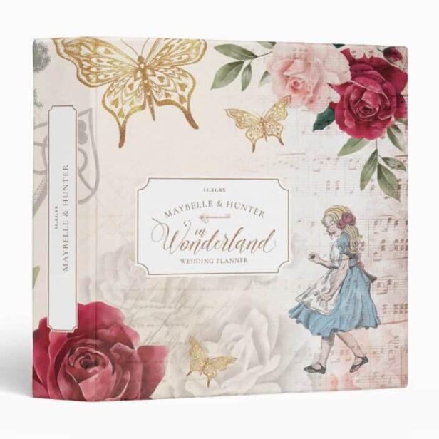 Alice In Wonderland Vintage Wedding Decoupage 3 Ring Binder