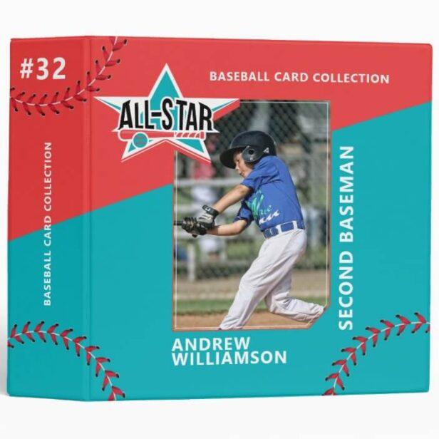 All Star Custom Baseball Card Photo Album 3 Ring Binder