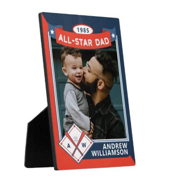All Star Dad Custom Red & Blue Baseball Card Photo Keepsake Plaque