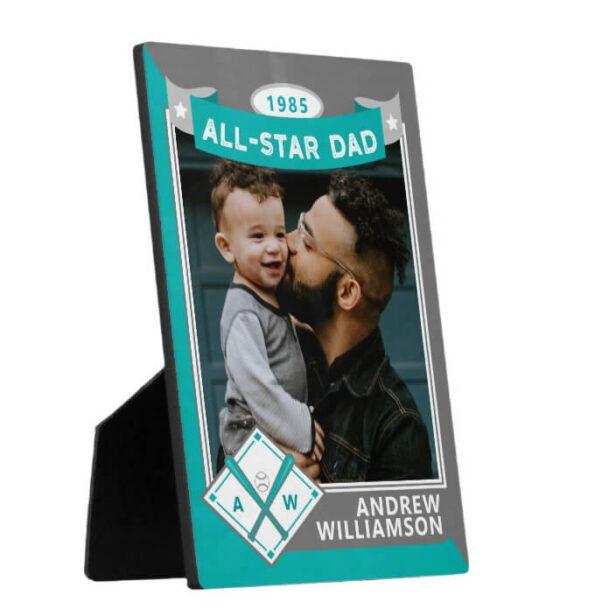 All Star Dad Custom Teal & Grey Baseball Card Photo Keepsake Plaque
