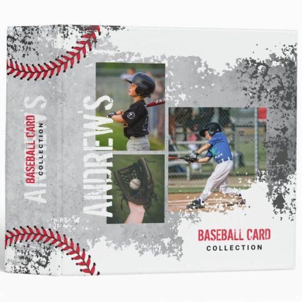 Baseball Photos Scrapbook Grunge Baseball Card 3 Ring Binder