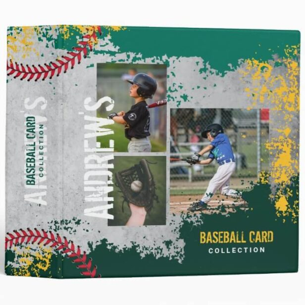Baseball Photos Scrapbook Grunge Baseball Card 3 Ring Green & Grey Binder