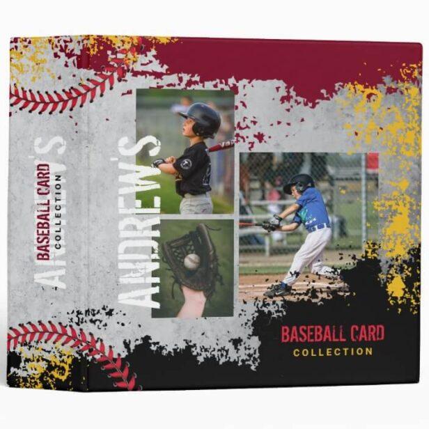 Baseball Photos Scrapbook Grunge Baseball Card 3 Ring Maroon & Black Binder