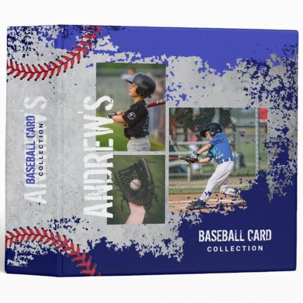 Baseball Photos Scrapbook Grunge Baseball Card 3 Ring Royal & Navy Binder