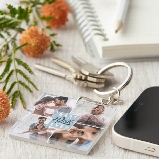 Best Dad Ever Custom Four Photo Family Collage Keychain