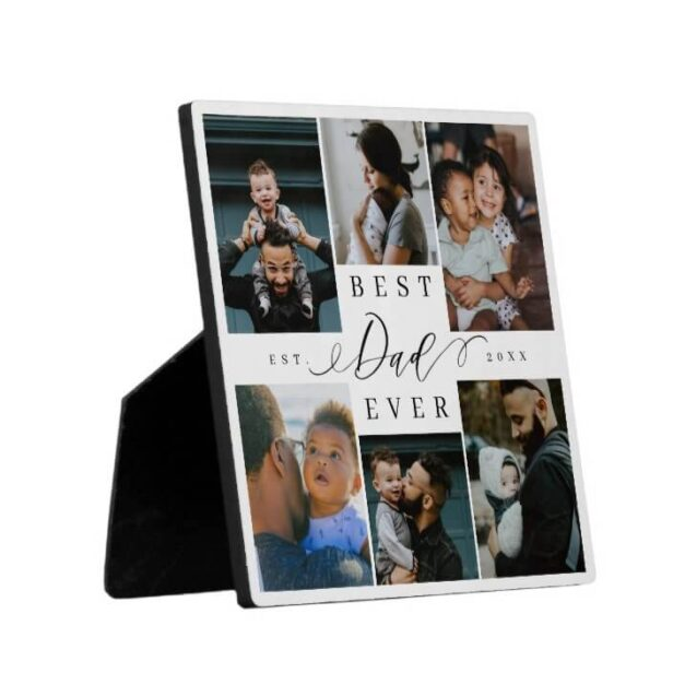 Best Dad Ever   Father's Day 6 Photo Collage Plaque