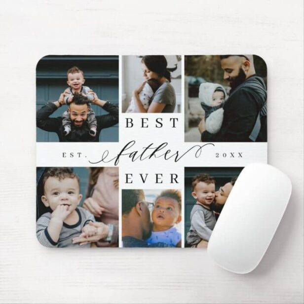Best Father Ever | Father's Day 6 Photo Collage Mouse Pad