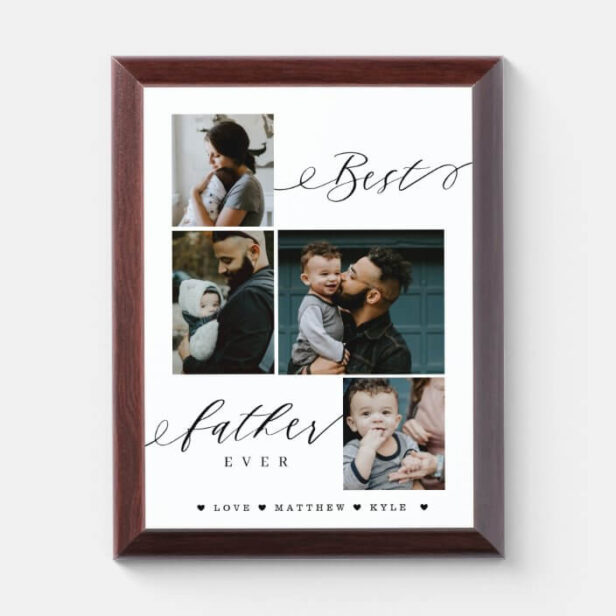Best Father Ever Script | Family Photo Keepsake Photo Plaque