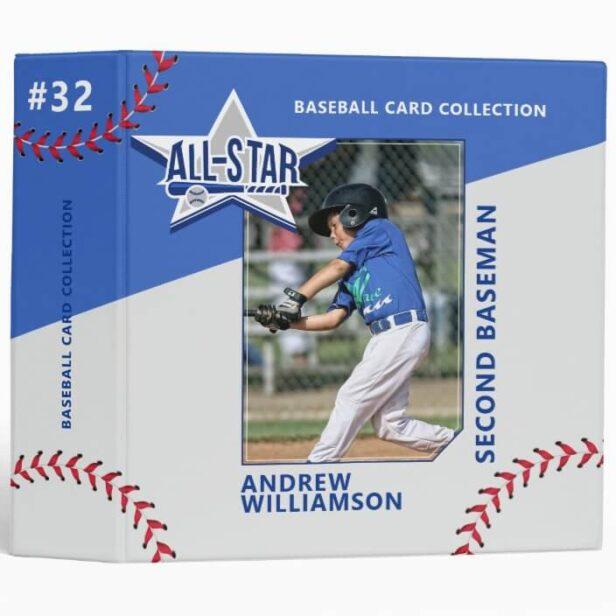 Blue & Grey All Star Custom Baseball Card Photo Album 3 Ring Binder
