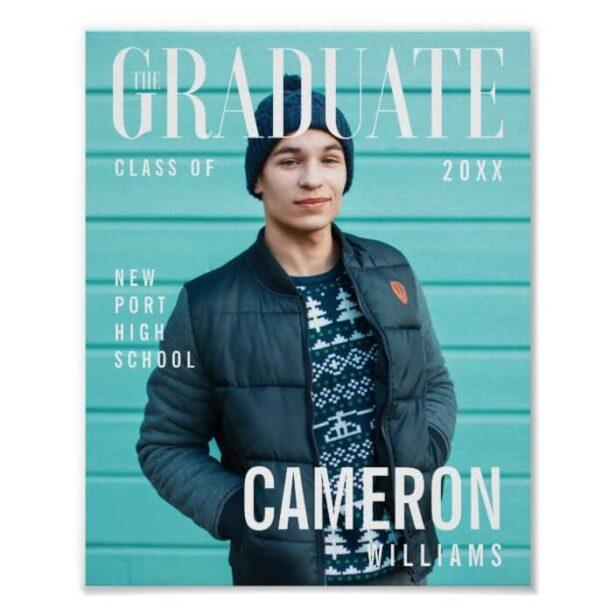 Boy Grad Trendy Magazine Cover Inspired Graduation Poster