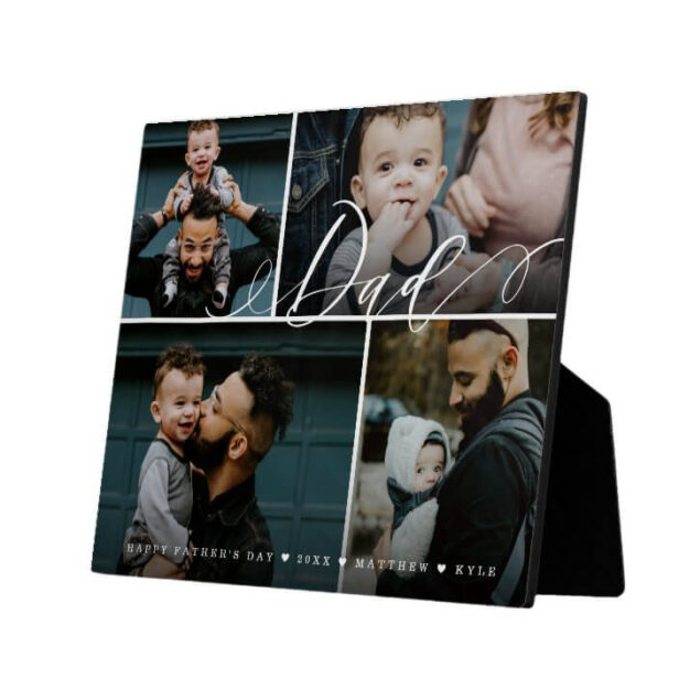 Dad Script   Happy Fathers Day 4 Photo Collage Plaque