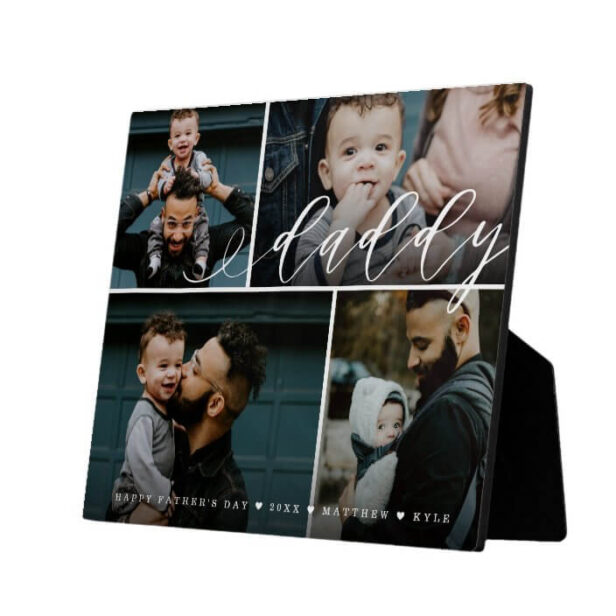 Daddy Script   Happy Fathers Day 4 Photo Collage Plaque