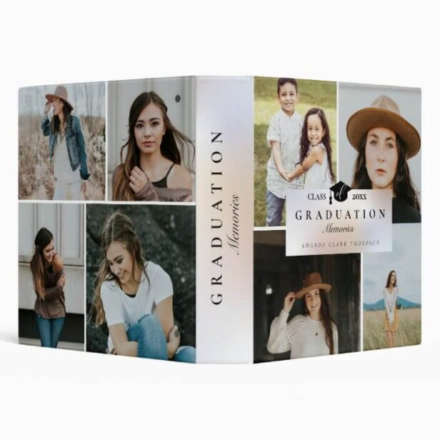 Elegant Graduation Photo Collage Memories Book 3 Ring Binder