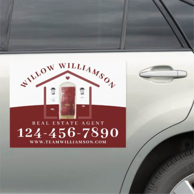 Real Estate Agent House & Red Watercolor Door Car Magnet