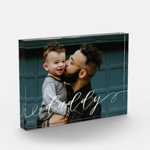 Gift For Daddy | Daddy Script Calligraphy Keepsake Photo Block