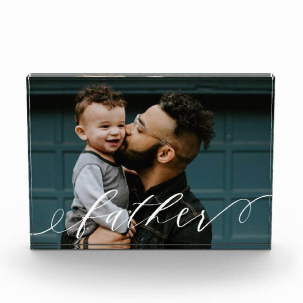 Gift For Father Classy Script Calligraphy Keepsake Photo Block