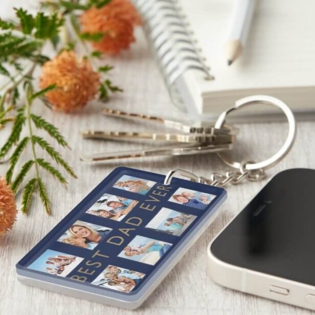 Gift for Dad | Best Dad Ever Photo Collage Navy Keychain