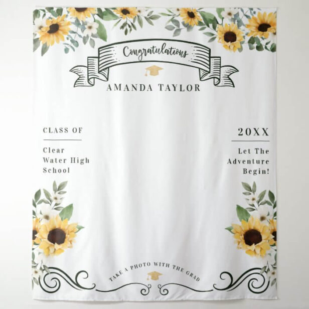 Graduation Party Photo Booth Sunflower Tapestry