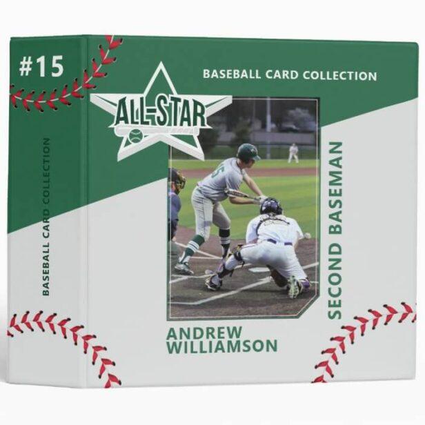 Green & Grey All Star Custom Baseball Card Photo Album 3 Ring Binder