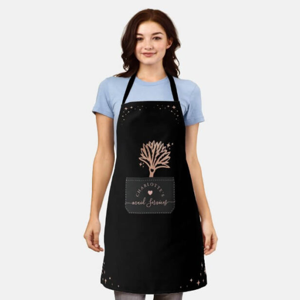 House Cleaning Fake Stitched Pocket Feather Duster Black Apron