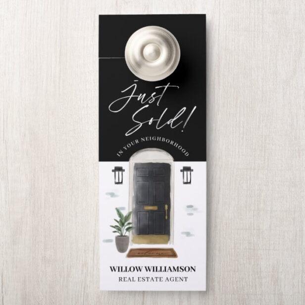 Just Sold Real Estate Agent Black Watercolor Door Door Hanger