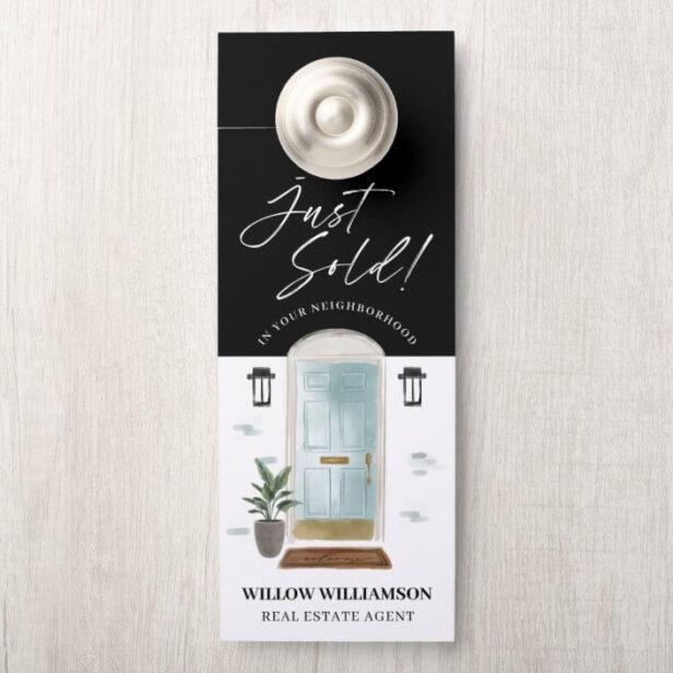 Just Sold Real Estate Agent Mint Watercolor Door Door Hanger