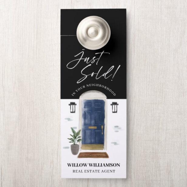Just Sold Real Estate Agent Navy Watercolor Door Door Hanger