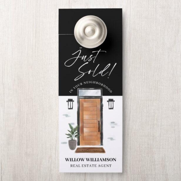 Just Sold Real Estate Agent Wood Watercolor Door Door Hanger