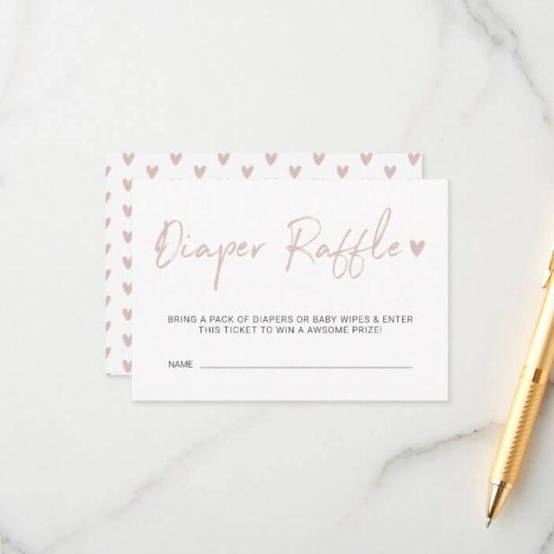 Modern & Minimal Diaper Raffle Pink Brush Script Enclosure Card