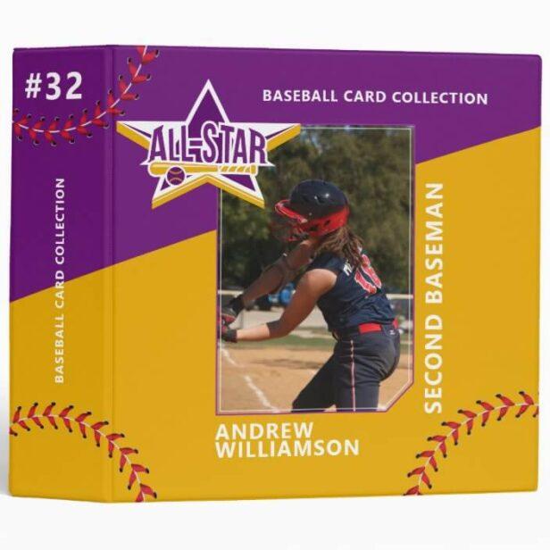 Purple & Yellow All Star Custom Baseball Card Photo Album 3 Ring Binder