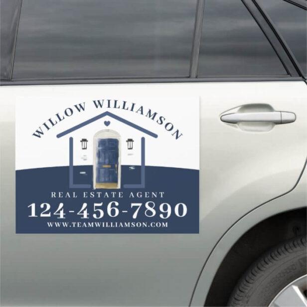 Real Estate Agent House & Navy Watercolor Door Car Magnet
