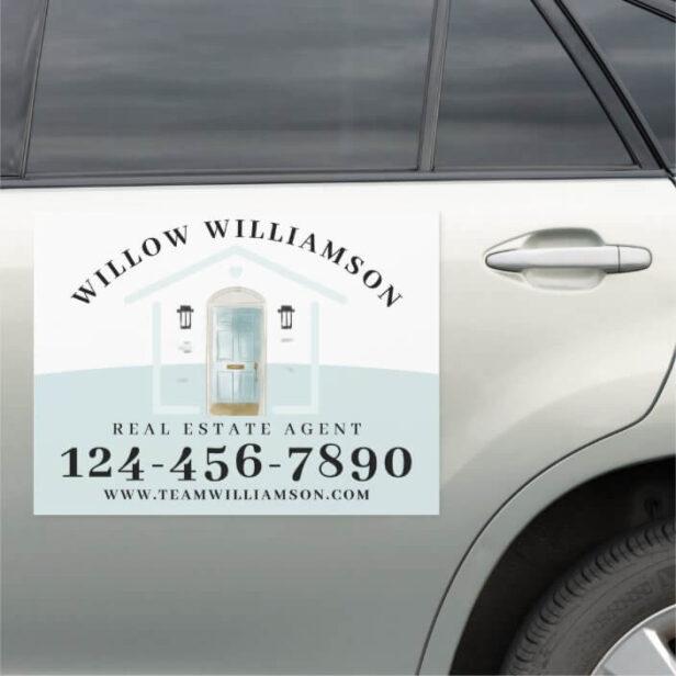 Real Estate Agent House & Pink Watercolor Door Car Car Magnet