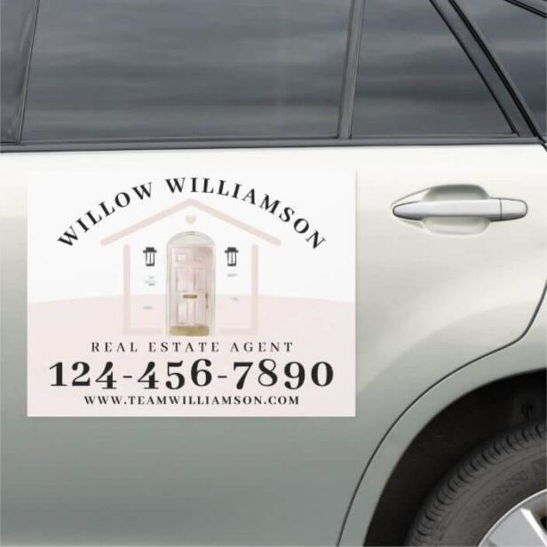 Real Estate Agent House & Pink Watercolor Door Car Magnet