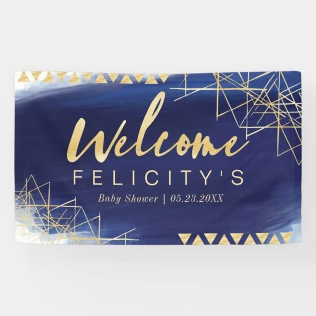 Regal Navy, Gold Watercolor Baby Shower Welcome Banner