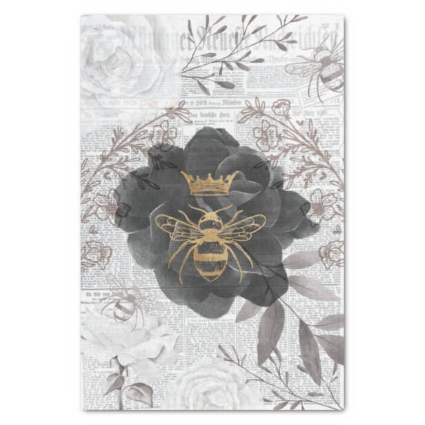 Rustic Vintage Honey Bees & Floral Roses Decoupage Tissue Paper